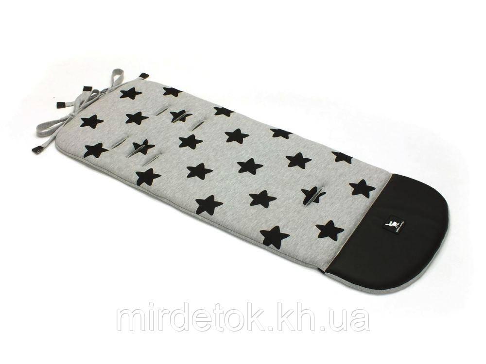 Матрас в коляску Cottonmoose Leather 590/29/49 серый меланж (черные звезды), черная эко-кожа