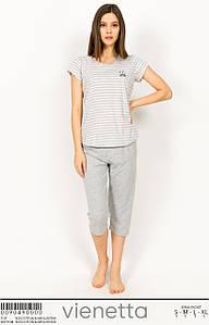 Домашний комплект с бриджами и футболкой серый 42-48 р
