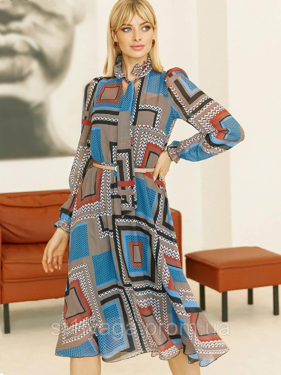 Шифоновое платье-миди с длинным рукавом