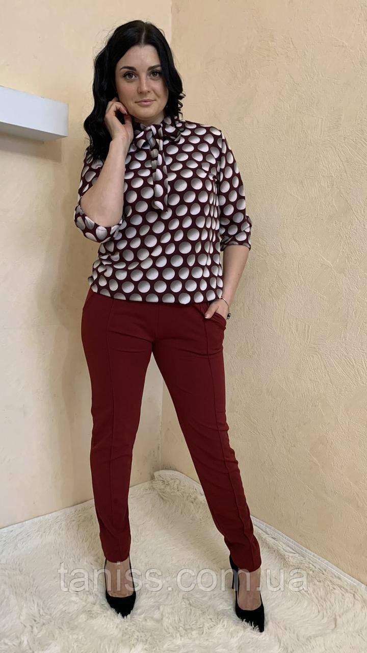 Женский стильный, брючный костюм,ткань креп дайвинг и софт,  р.44-46,48-50,52-54,56-58,62-64