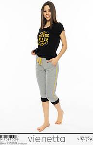 Женский комплект для дома с черной футболкой 42-48 р