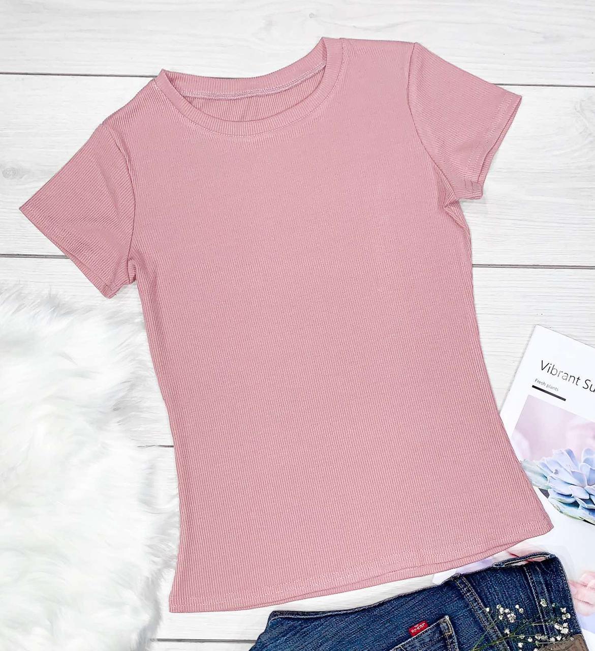 Женская базовая футболка однотонная.