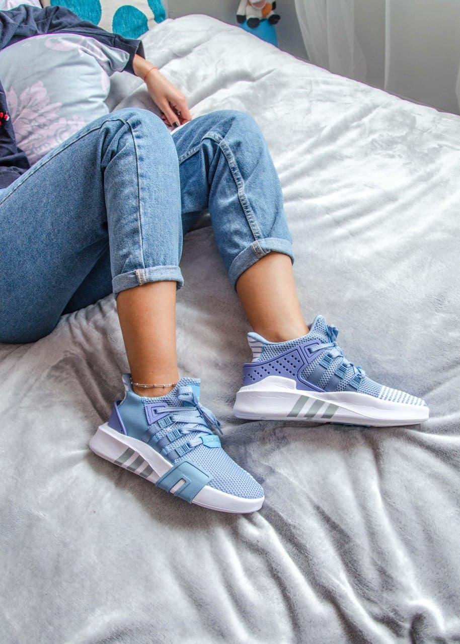 Женские кроссовки Adidas Equipment basketball (blue/white) Реплика ААА