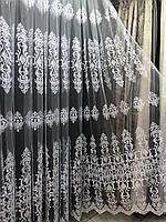 Красива тюль в спальні або в зал на фатине з великими купонами Колір: Білий №16624