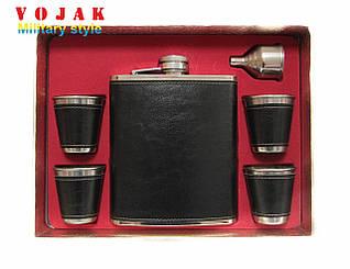 Подарочный набор 531ml фляга/лейка/4 стопки (Кожа) №TZ 10B