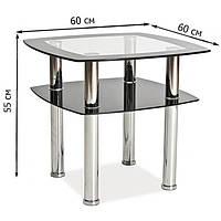 Небольшой квадратный журнальный столик из стекла Signal Rava D 60x60x55см с тонированной окантовкой и полкой