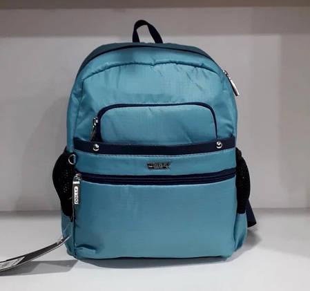 Модний жіночий рюкзак невеликий молодіжний бірюзовий з кишенями 30*24 см Dolly 376, фото 2