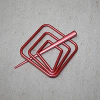 Заколка квадрат для нитяных штор, красный 85х85мм