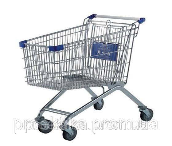 Тележка торговая для самообслуживания в супермаркете (цвет синий) 240 л.