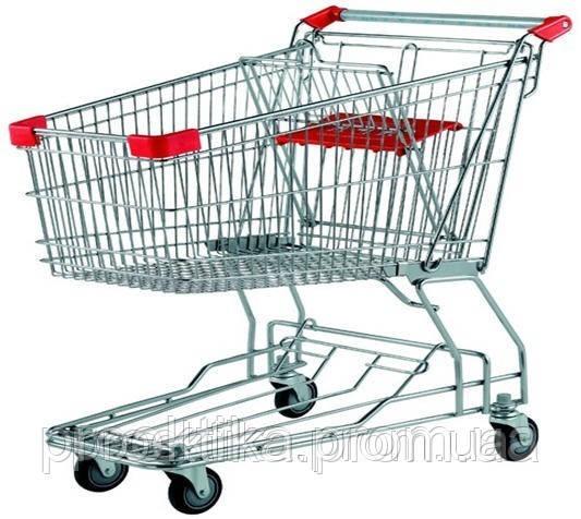 Тележка для супермаркета. Покупательские тележки на 100 литров (цвет красный) Китай