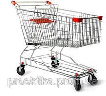 Тележка для супермаркета 125л. (цвет красный) Китай