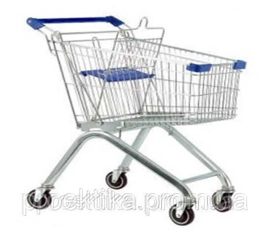 Тележка торговая для самообслуживания в супермаркете (цвет синий) 100 литров