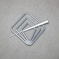 Заколка квадрат для нитяных штор, матовое серебро 85х85мм