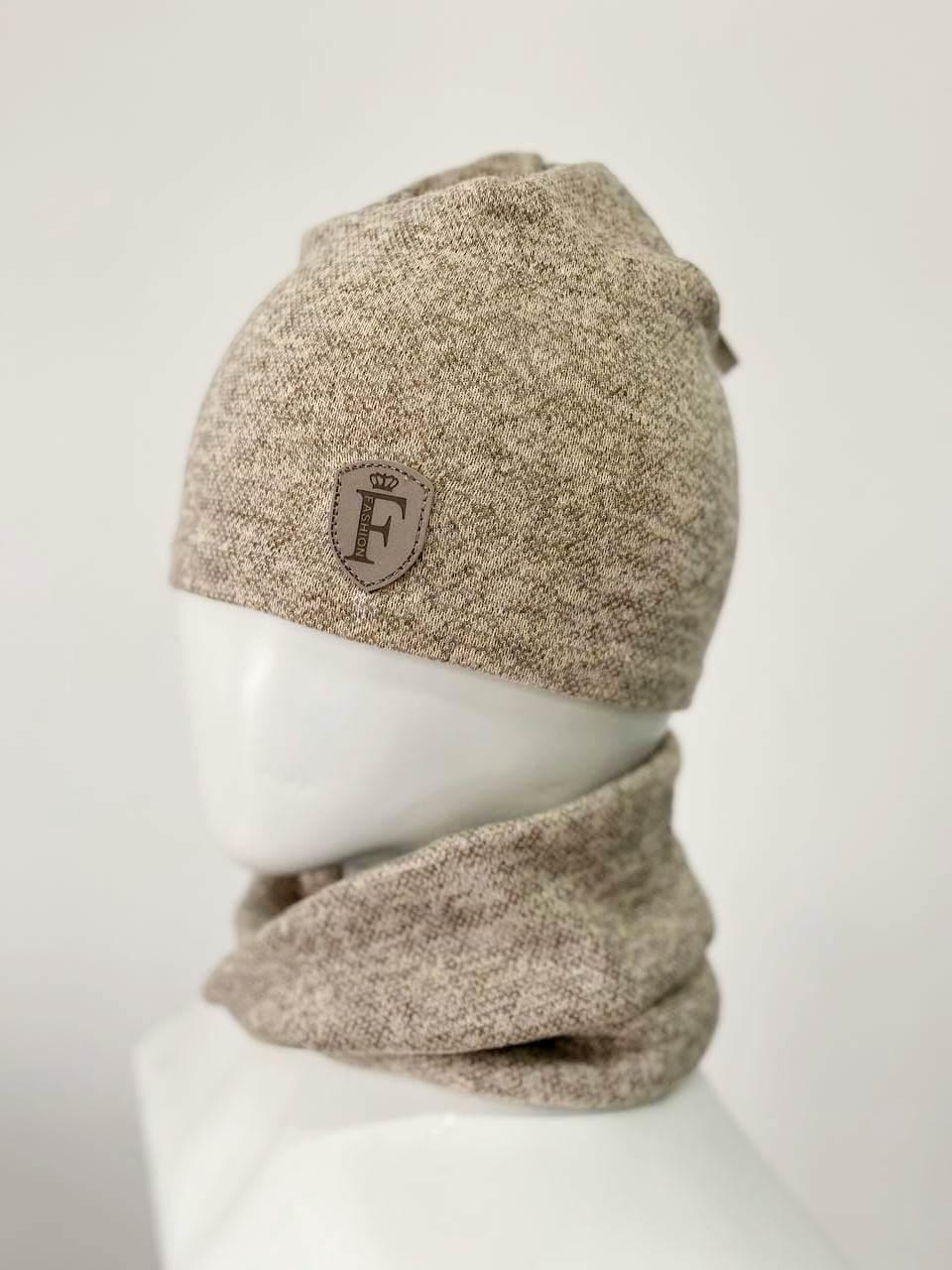 Трикотажний комплект(шапка+хомут)Ангора меланж беж