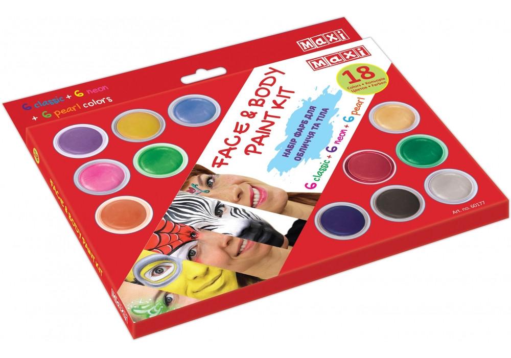 Набір фарб для обличчя та тіла ,18 кольорів з 2 пензликами та спончем №MX60177(1)