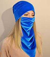 Женский комплект из шапки и шейного платка-маски из бархата. Оливковый (зеленый) голубой