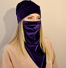 Женский комплект из шапки и шейного платка-маски из бархата. Оливковый (зеленый) фиолетовый