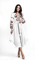 Лляное вышитое платье Эдельвика арт. 301-20/09 Белая р. 48-54