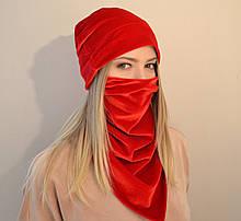 Жіночий комплект з шапки і шийної хустки-маски з оксамиту. Червоний