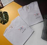"""Парні футболки з принтами """" Руки , сердечка і дата """""""