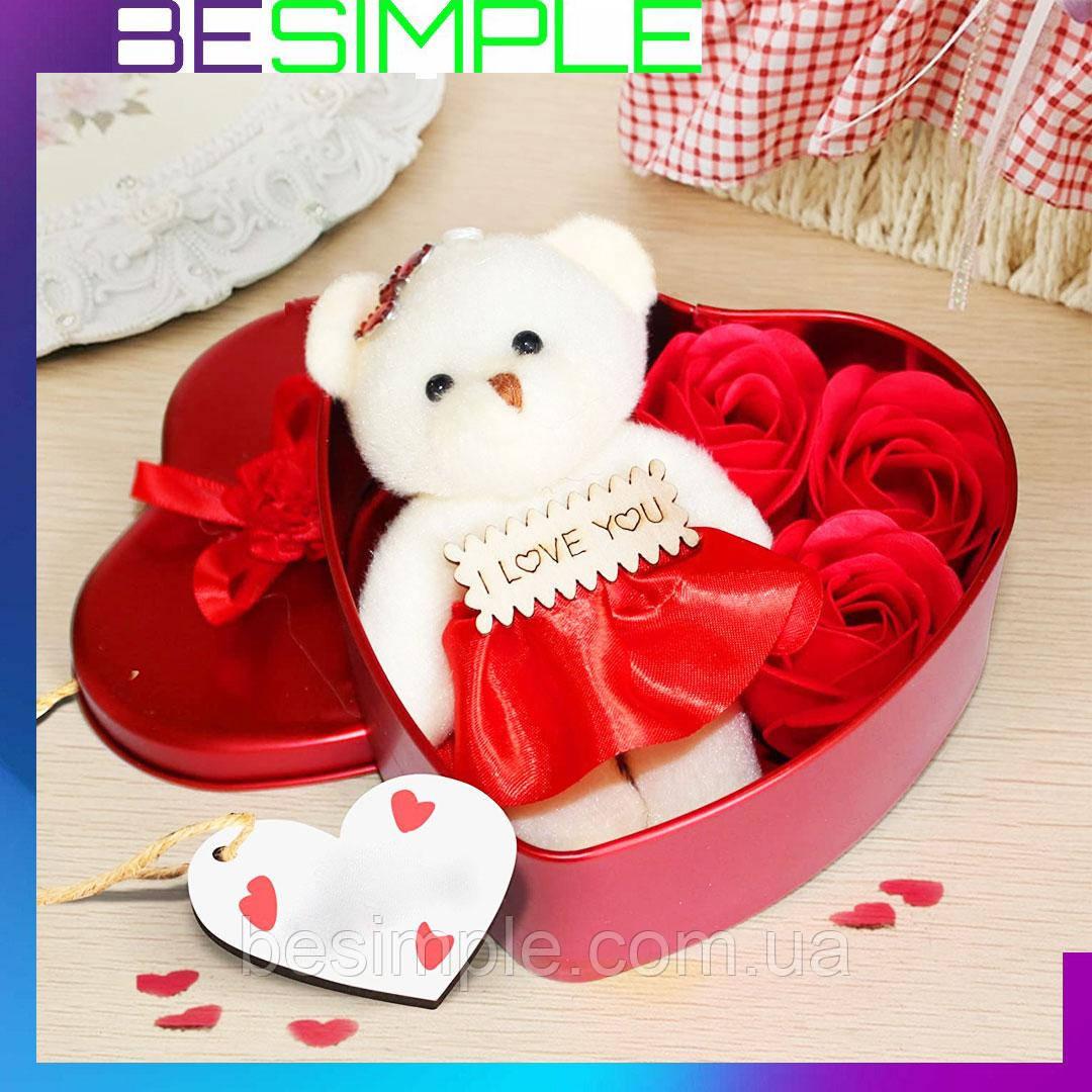 Подарочный набор мыльные розы (3 розочки) + Мишка / Мыло ручной работы
