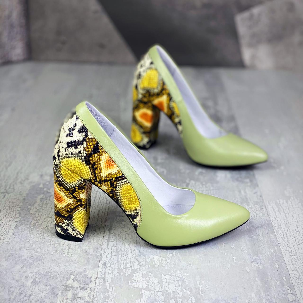 Шикарні жіночі шкіряні туфлі на підборах 36-40 р салат+рептилія
