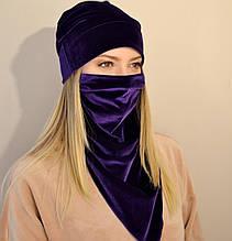 Жіночий комплект з шапки і шийної хустки-маски з оксамиту. Фіолетовий