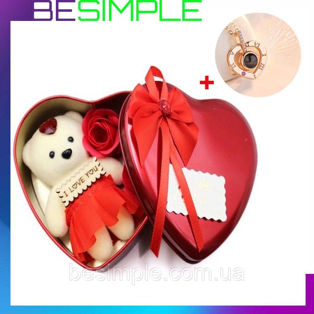 Подарункова шкатулочка з трояндою з мила (3 трояндочки) + Подарунок Кулон I Love you