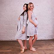 Комплект бавовняний з мереживом двійка халат, нічна сорочка світло-сірий в пологовий будинок