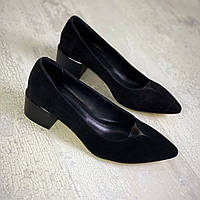 Жіночі замшеві туфлі на міні підборах 36-40 р чорний, фото 1