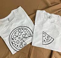 """Парні футболки з принтами """" Піцци та шматочком """""""