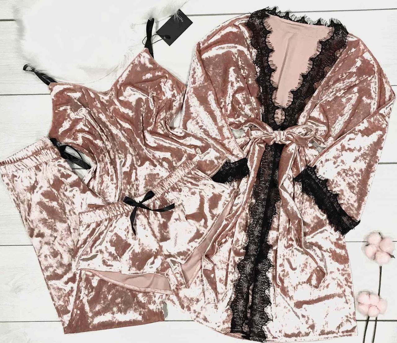 Жіночий велюровий комплект піжама майка+шорти+штани з халатом персикового кольору.
