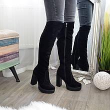 Ботфорты зимние черные замшевые на высоком устойчивом каблуке. 36 размер