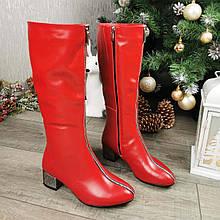 Сапоги зимние красные на невысоком каблуке, декорированы молнией. 36 размер