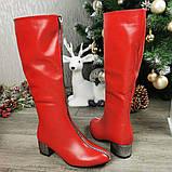 Сапоги зимние красные на невысоком каблуке, декорированы молнией. 36 размер, фото 3
