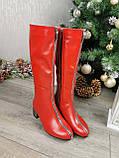 Сапоги зимние красные на невысоком каблуке, декорированы молнией. 36 размер, фото 5