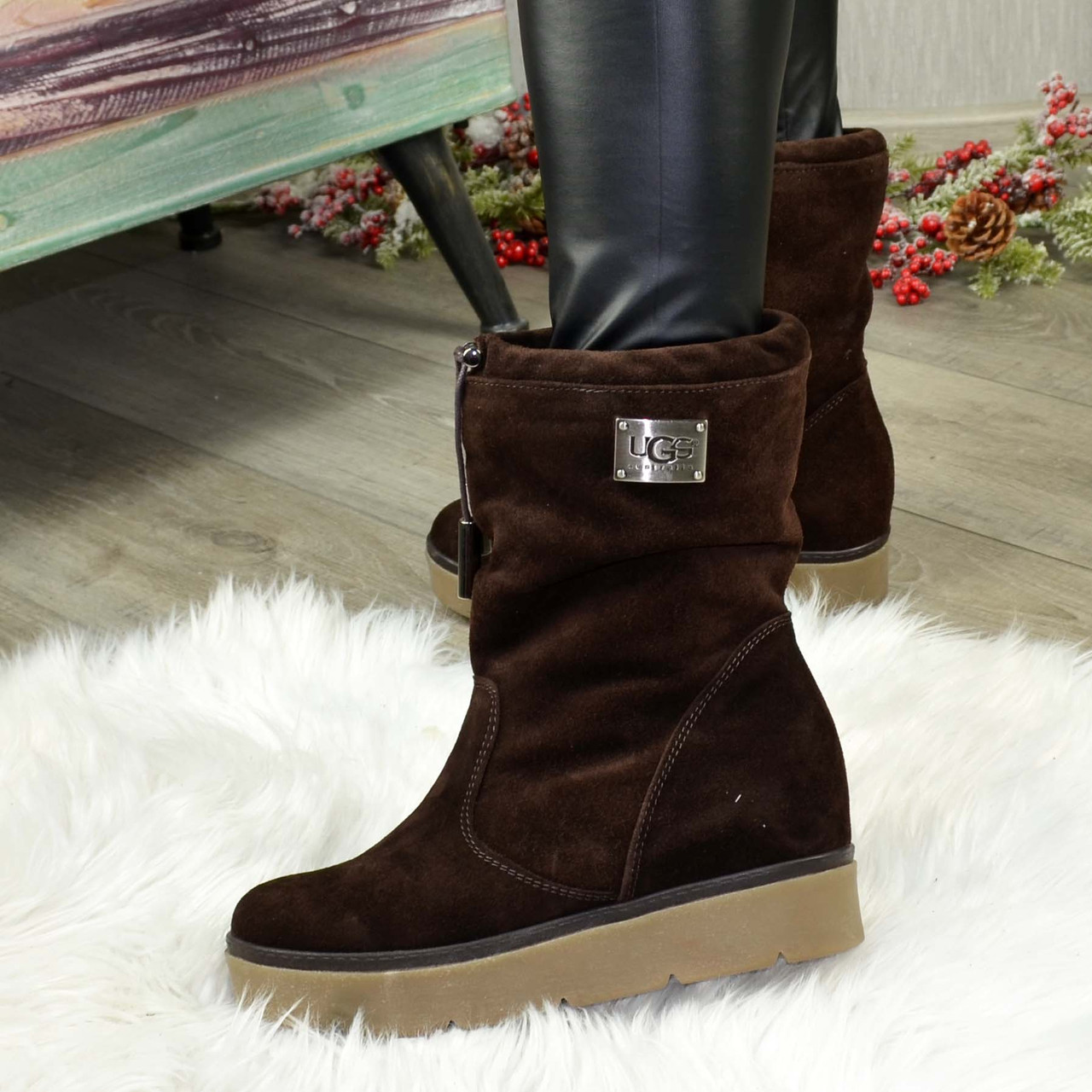 Замшеві черевики вільного взування, на прихованій танкетці, колір коричневий. 36 розмір