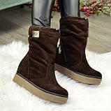 Замшеві черевики вільного взування, на прихованій танкетці, колір коричневий. 36 розмір, фото 2