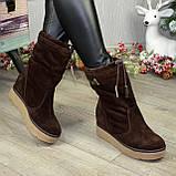 Замшеві черевики вільного взування, на прихованій танкетці, колір коричневий. 36 розмір, фото 3