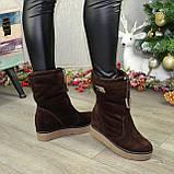 Замшеві черевики вільного взування, на прихованій танкетці, колір коричневий. 36 розмір, фото 4