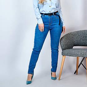 Джинсы женские синие облегающие с высокой талией Большого размера