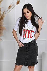 Юбка джинсовая женская Черная рваная
