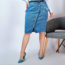 Модная Юбка джинсовая женская на пуговицах Большого размера