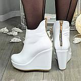 Ботинки кожаные женские демисезонные на платформе, декорированы молнией. Цвет белый. 36 размер, фото 2