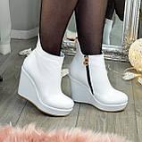 Ботинки кожаные женские демисезонные на платформе, декорированы молнией. Цвет белый. 36 размер, фото 3