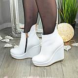Ботинки кожаные женские демисезонные на платформе, декорированы молнией. Цвет белый. 36 размер, фото 4