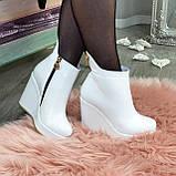 Ботинки кожаные женские демисезонные на платформе, декорированы молнией. Цвет белый. 36 размер, фото 5