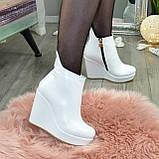 Ботинки кожаные женские демисезонные на платформе, декорированы молнией. Цвет белый. 36 размер, фото 6