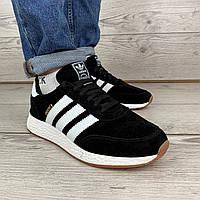 Кроссовки мужские Adidas INIKI черные с белыми полосками демисезонные фирменные кроссы для мужчин адидас иники