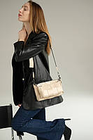 Бежевая маленькая женская сумка 63709 тройка модная 3 в 1 через плечо плетеная кросс-боди, фото 1